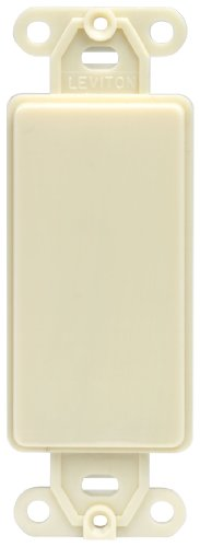 Leviton 80414-I Decora Plastic Adapter Plate, Blank - No Hole, With-Ears, And Two Mounting Screws. Ivory