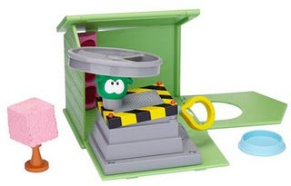 Disney Club Penguin Puffle World Playset Big Air Launcher with Green Puffle 1 Inch Mini Figure Includes Coin with Code!