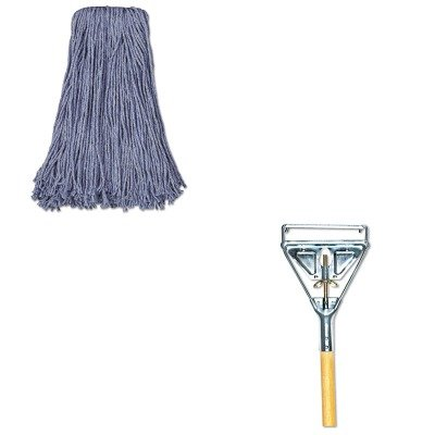 KITUNS2024BUNS605 - Value Kit - Blue Standard Head Cut-End Wet Mop Heads, 20 Ounce (UNS2024B) and Quick Change Metal Head Mop Handle for #20 amp; Up Heads, 63quot; Wood Handle (UNS605)