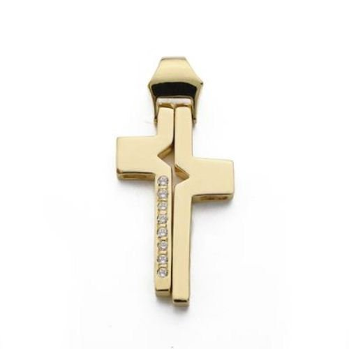 18kt gold cross and zircons