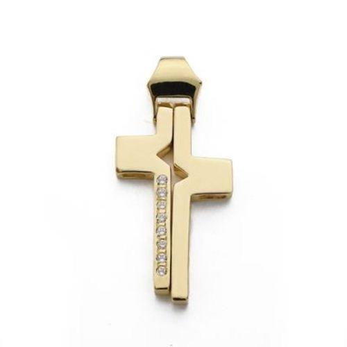 18kt gold cross and zircons