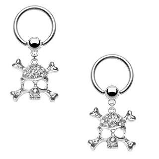 Body Accentz™ Nipple Ring Dangle Skull Captive