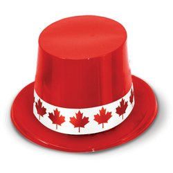 Red Plastic Topper w/Maple Leaf Band Party Accessory (1 count)