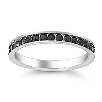 Stainless Steel Eternity Ring with Onyx CZ Stones-December Birthstone - Size 4