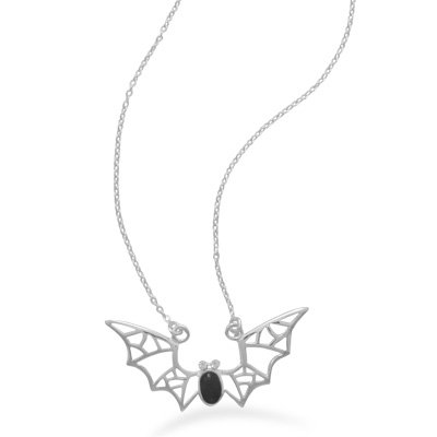 """16"""" Bat Necklace With Black Onyx And Crystal 16"""" Polished Sterling Silver Bat Necklace With Black Onyx And Crystal Accents. The Black Onyx Body Measures Approximately 4Mm X 5.5Mm. The Bat Measures Approximately 18Mm X 35Mm. .925 Sterling Silver"""