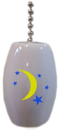 Celestial Moon And Stars Ceramic Fan Pull front-409584