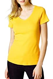 M&S Collection Pure Cotton V-Neck T-Shirt with Stay New [T41-0906-S]