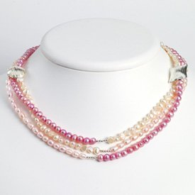 Sterling Lavender Peach Pink Cult. Pearl Necklace - 54 Inch - Lobster Claw - JewelryWeb