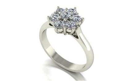 Moissanite 18ct White Gold 1.00 Carat Seven Stone Cluster Ring - Zoe Kay Jewellery