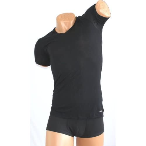 Calvin Klein Micro Modal Short Sleeve V-Neck Tシャツ  S/L  【並行輸入品】 (L, ブラック)