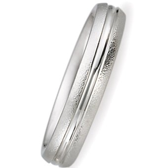 4.00 Millimeters White Gold Wedding Band Ring 14 Karat Gold, Low Dome Comfort Fit Style SV47-206W4, Finger Size 6½