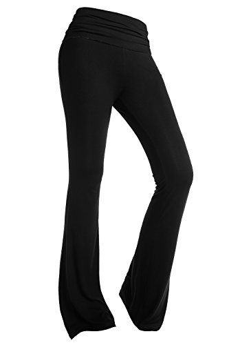BAISHENGGT Pantaloni lunghi da Yoga Fitness vita alta - Donna Nero Small