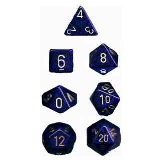 Polyhedral 7-Die Chessex Dice Set - Speckled Golden Cobalt