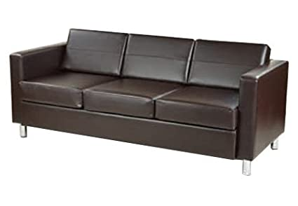 Pacific Easy-Care Espresso Faux Leather Sofa Couch with Box Spring Seats and Silver Color Legs by Ave Six
