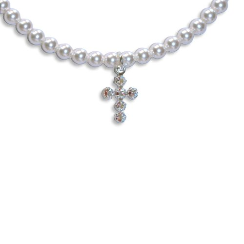Cross Necklace with SWAROVSKI ELEMENTS Crystal White Pearls and Crystal Rhinestones