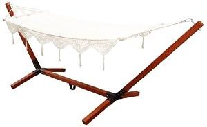 Hamac blanc en coton avec support bois 80 x 200 cm