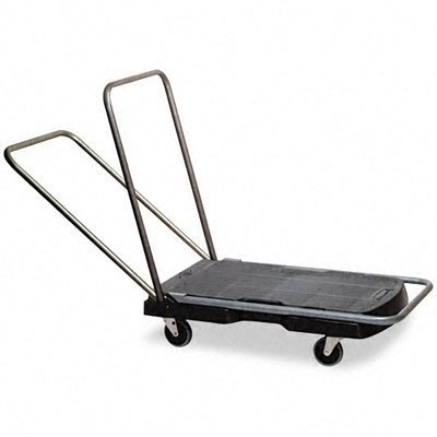 Rubbermaid Commercial FG440000 Black 250 lbs Capacity Utility Duty Triple Trolley with Straight Handle and 3-Inch Casters
