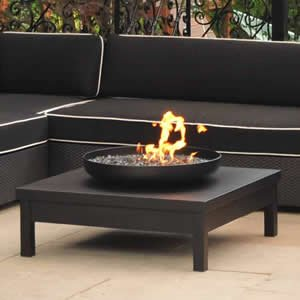 Black Powder Coated Gas Fire Pit Table