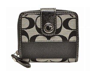 Coach Signature Stripe Medium Wallet 47847 Black