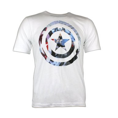Character Mens' Captain America White Shield T-Shirt