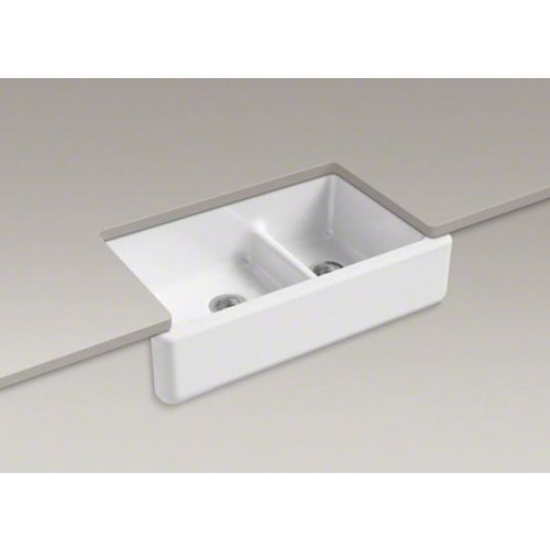KOHLER K-6427-0 Whitehaven Smart Divide Self-Trimming Under-Mount Apron-Front Double-Bowl Kitchen Sink with Tall Apron, 35-1/2-Inch X 21-9/16-Inch X 9-5/8-Inch, White