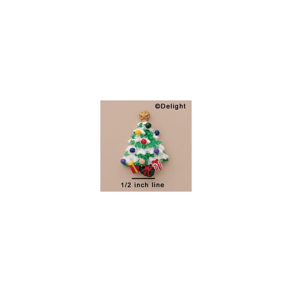 3943 ctlf   Christmas Tree Snow Present   Flat Back Resin Decoration