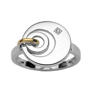 Damen-Ring Ehering Sterling Silber rhodiniert & 18 k (750) Gold Diamant/56/NEU/FranceBijoux kaufen