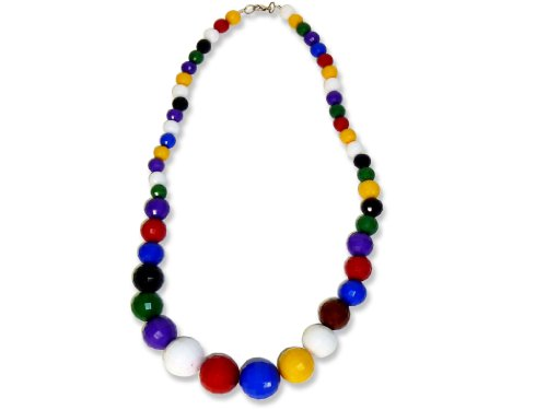 Faceted Acrylic Beads Necklace Length 24 Inches - Multi-color
