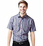 Short Sleeve Bold Striped Shirt with Modal