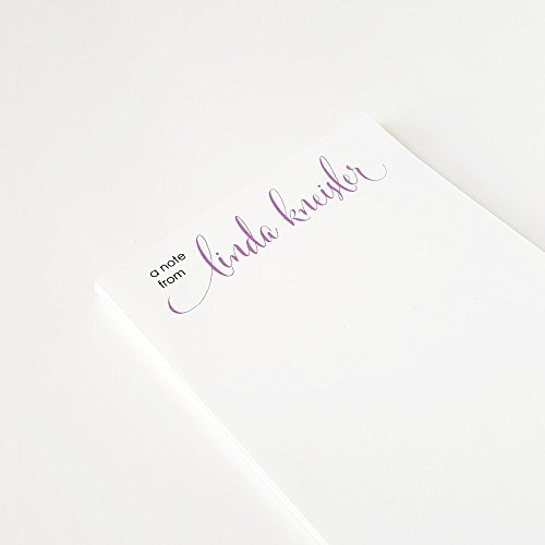 Personalized Notepads with Script Lettering, Letter Writing Paper, size 5.5 in x 8.5 in, 50 sheets per pad 26 color options. (Personalized Writing Paper compare prices)