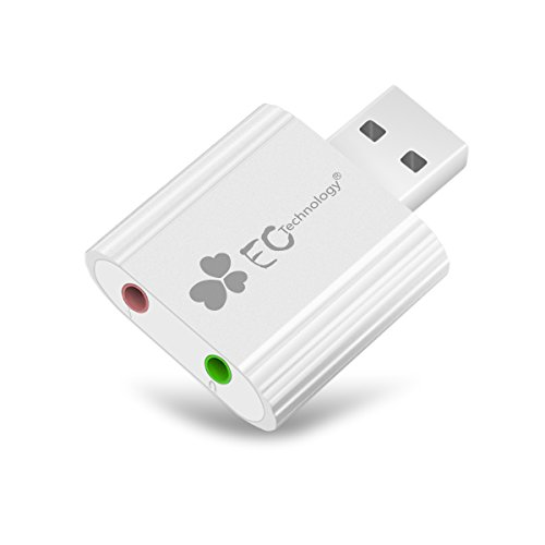 EC Technology USB オーディオ 変換アダプタ 3.5mm (ヘッドホン+マイク端子付き)
