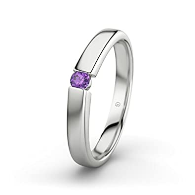Beate 21PREMIUM 21DIAMONDS Women's Ring Engagement Ring Princess Cut 18ct White Gold Engagement Ring with Amethyst