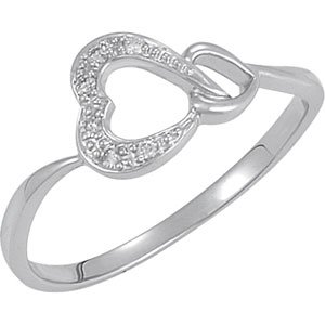 925 Sterling Silver .05 Ct Tw Diamond Heart Ring - (Size 5.0)