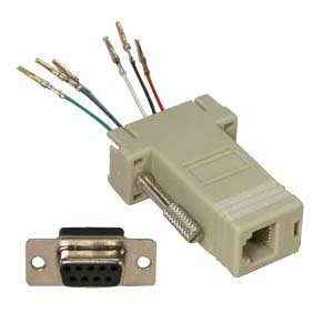 InstallerParts DB9 Female to RJ11/12 (6 Wire) Modular Adapter Ivory - Gold Plated