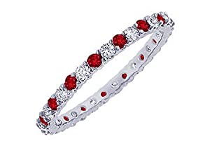 Ruby and Diamond Eternity Bangle : Platinum - 10.00 CT TGW
