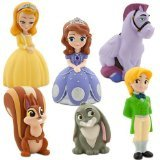 Disney Junior SOFIA THE FIRST 6 Piece Bath Set Featuring Sofia the First, Prince James, Clover, Whatnaught, Minimus and Princess Amber Bath Toys Measuring 2 to 5 Inches Tall - 1