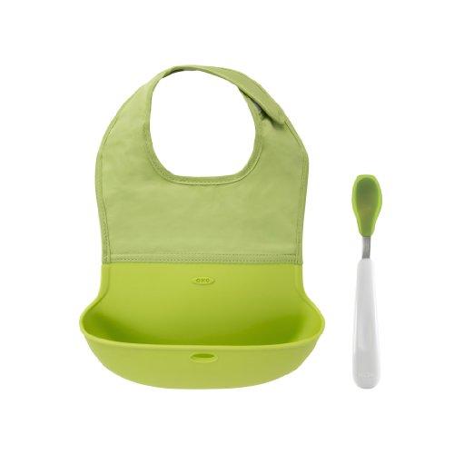 OXO Tot Bib and Feeding Spoon Set, Green image