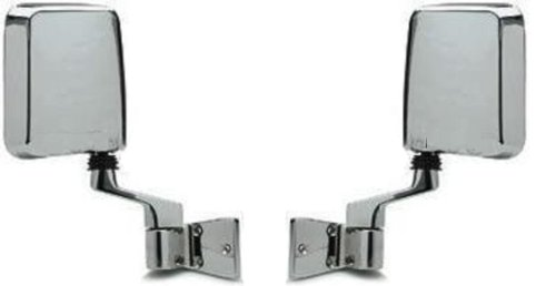 1987-2002 Jeep Wrangler Mirror Manual Chrome Door Hinge Mounted (Fits Both Full And Half Doors) Folding Rear View Mirror Pair Set: Right Passenger And Left Driver Side (1987 87 1988 88 1989 89 1990 90 1991 91 1992 92 1993 93 1994 94 1995 95 1996 96 1997 9