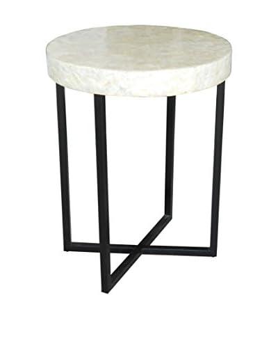 Jeffan Uptown Round Capiz End Table With Iron Base, Black/White