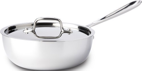 All-Clad 4213 Stainless Steel Tri-Ply Bonded Dishwasher Safe 3-Quart Saucier Pan With Lid / Cookware, Silver Color: White Size: 3-Quart Home & Kitchen front-478682