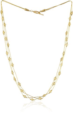 Gold Silk 3 Strand Gold Silk Necklace Accented with Gold Stardust Beads