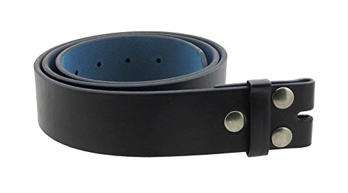 "Leather Belt Strap with Smooth Grain Finish 1.5"" Wide with Snaps (Black-L)"