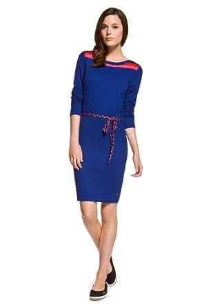 Lacoste Women's Cotton Cashmere Colorblock Sweater Dress (Blue Multi) (12 / EUR 44)