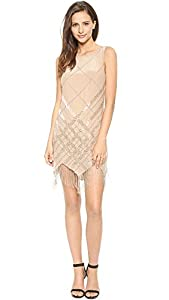 Haute Hippie Women's Embellished Argyle Dress with Fringe, Buff/Buff, Medium