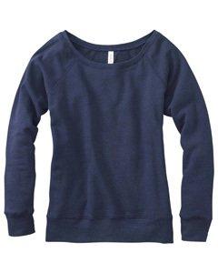 Bella Ladies Long Sleeve Wideneck Fleece - Navy Heather 7501 XL