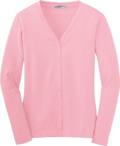Port Authority - Ladies Modern Stretch Cotton Cardigan. L515 - Petal Pink - Large