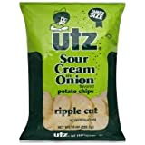 Utz Potato Chips, Ripple Cut, Sour Cream and Onion Flavored, Family Size, 10 oz, (pack of 3)