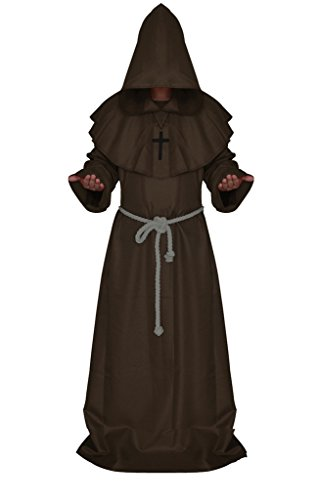 Halloween Priest Christian Wizard Monks Robe Middle Ages Clothing Costume Party (Middle Ages Costumes)