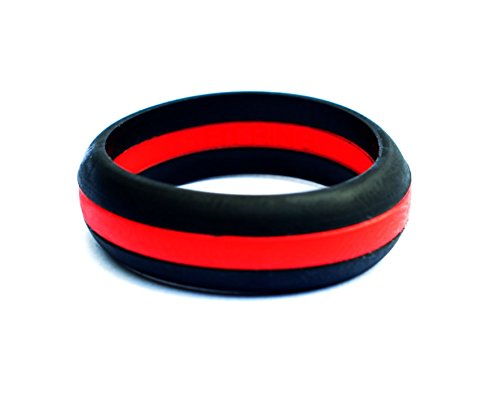 Fit Ring Thin Line Women's Silicone Wedding Ring Powered by Arthletic (Red Line / Blue Line) (Red Line, 6)