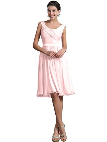 Remedios Simple Short Chiffon Bridesmaid Prom Graduation Summer Dance Party Dress Gown with Ribbon Sash,#114 Pearl Pink,S6